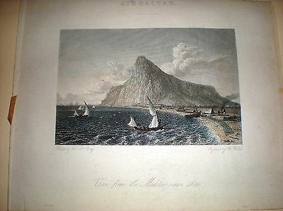 """Old Print..Painted By  Capt.Batty,Engraved By  R Wallis,""""Gibraltar"""" 1800's"""