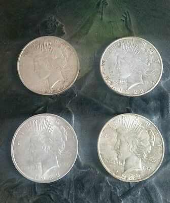 1922 Peace silver Dollar lot of 4 - 1922-D  1922-S   1922-p (2)----  #5