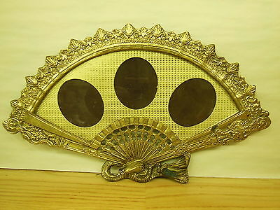 Antique Solid Cast Brass HAND FAN shaped PICTURE FRAME f/ 3 pictures very ornate