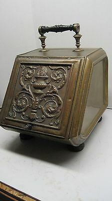 Ornate Antique Brass Coal ash Footed Scuttle Box with handle