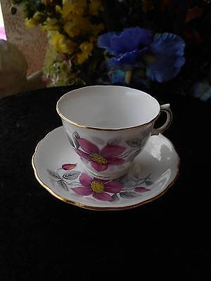 vintage england ROYAL VALE CUP AND SAUCER bone china white pink yellow flowers