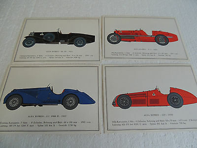 Alfa Romeo set of 4 Vintage Alfa's post cards issued in mid 70's rare! Group 2