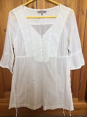 Fat Face White Summer Cotton Tunic Top Size 12 - Worn Once.