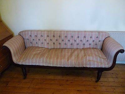 Antique George IV Mahogany Scroll arm sofa