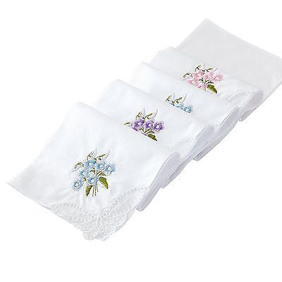 Cotton Embroidery Ladies Handkerchiefs Lace Set of 6