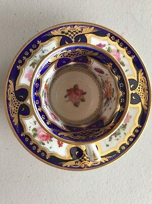 Mid 19Th Century Coalport Cup And Saucer Painted With Flowers