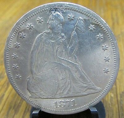 High Grade Holed 1871 Seated Liberty Silver Dollar