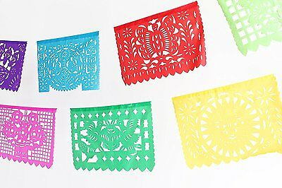 Mexican Multicolor Plastic Garland Papel Picado Folkloric Paper Banner 16 Feet