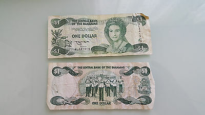 Bahamas Two Bank Notes $1 Dollar Currency, Paper Money