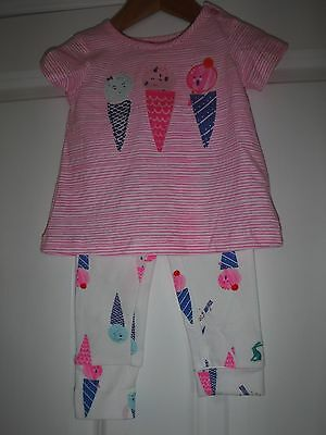 JOULES baby girl age 3/6 months BNWT pink ice cream top & leggings set £24.95