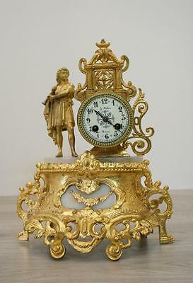 ANTIQUE 1860 FRENCH  CLOCK Japy Freres movement Gilt  Spelter Alabaster MUSICIAN