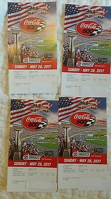 4 Coca Cola 600 Nascar Race Tickets May 28 , 2017  Race , Chrysler Sec. G, Row51