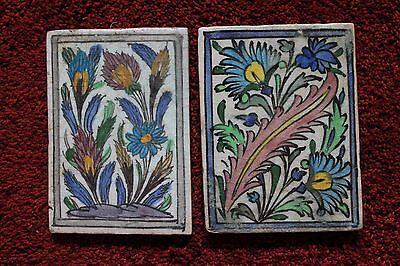 Two rare Antique Iznic / persian / middle eastern tiles Floral subjects