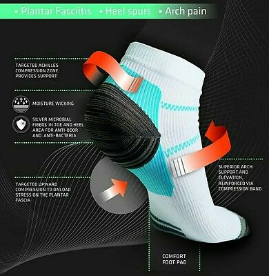 2 pairs of running compression ankle socks for heel spurs & plantar fascilitis
