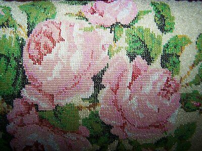EXQUISITE Antique Victorian Beaded Pink Roses Pillow with Vintage Ruffled Trims