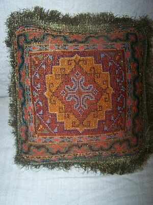 Rare Antique Victorian Exquisitely Beaded Pillow Cushion w/ Gold Metal Fringe