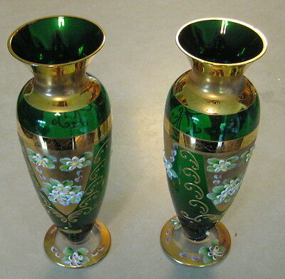 2 Antique Seyei Green Glass Victorian VASE gold painted flowers foil label