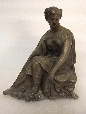 ANTIQUE vintage CAST decorative WOMAN sculpture METALWARE ART estate sale $9.95