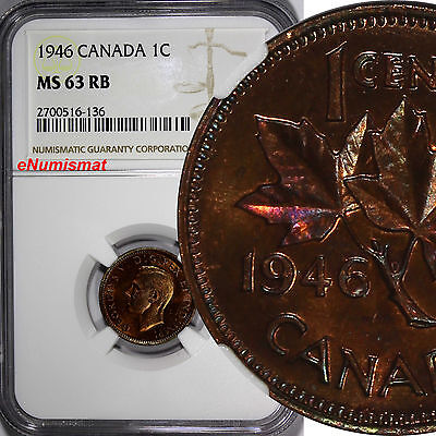 Canada George VI Bronze 1946 1 Cent NGC MS63 RB  KM# 32