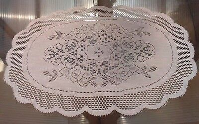 Vintage Style  White Machine Lace Floral Table Center /mat Or Doily