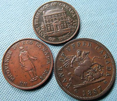 Lot of 3 Canada Colonial Halfpenny Token One Penny Token Coppers 1837 1844 1857