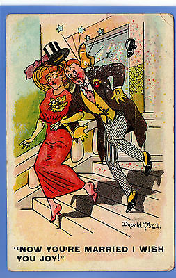 OLD POSTCARD ARTIST SIGNED DONALD McGILL SHOES THROWN AT NEWLY MARRIED COUPLE