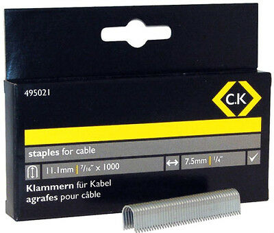 CK 495022 CABLE STAPLES 7.5 x 14.2mm FOR CK T6227 & ARROW T25 - Pack of 1000