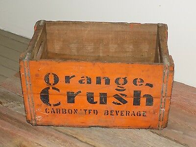 EARLY Vtg ORANGE CRUSH CarbonaTed Beverage WOOD Soda pop Case CraTe GeneralSTORE