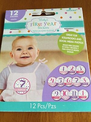 Baby Girl Month Stickers (12ct)