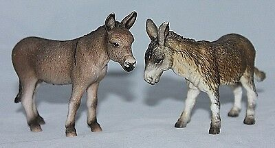 VINTAGE PAIR Schleich Hard Plastic DONKEYS BURROS #13212 1989, #13644 RETIRED