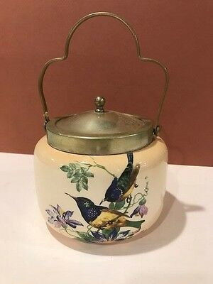 Antique Vintage EnglishBirds Floral PADDY'S Biscuit Cracker Jar VERY NICE! A