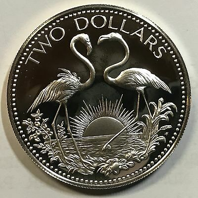 1977 Bahamas Silver Proof Two Dollars Flamingos Brilliant Uncirculated Coin