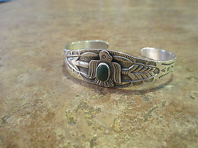 OLD Fred Harvey Era Navajo Sterling Silver Green Turquoise THUNDERBIRD Bracelet