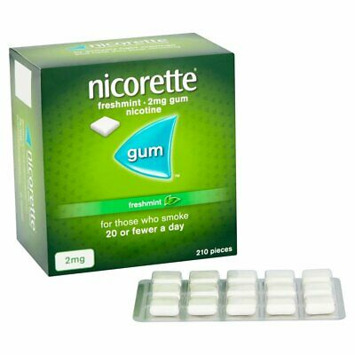 Nicorette Chewing Gum 2mg Quantity 210 in 1 Pack Original Freshmint Sugar-Free