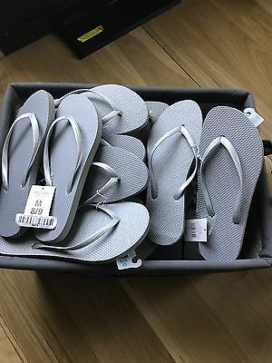 Women's Sandals Mossimo Silver Flip Flops Lot Of 22 Pairs! NEW
