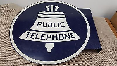 Vintage Double Sided Bell System Public Telephone Flange metal Sign