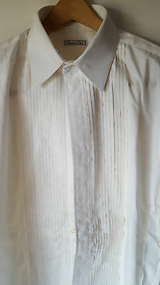 Mens Formal Shirt-Christian Dior-Pleated-Point Collar-Tuxedo Shirt-16x33
