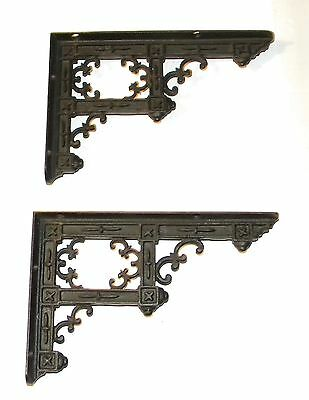Antique Matching Pair of Cast Iron Gothic Victorian Shelf Brackets Eastlake Era