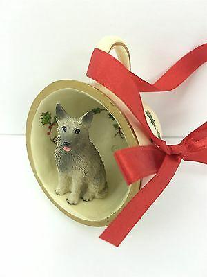 Norwegian Elkhound Tea Cup Christmas Ornament Holiday Dog Figurine