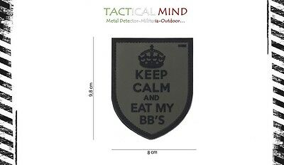 """Patch 3D PVC  """" KEEP CALM AND EAT MY BB'S"""" Fogliage con velcro - Softair"""