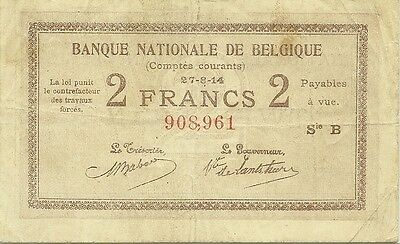 Belgium 1914 2 Francs Comptes Courants ~ P-82 ~ Rare Type ~ Problem-Free Note