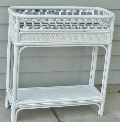 Vintage White Wicker Plant Stand Planter Metal Liner with Shelf Garden