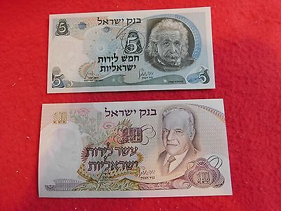 1968 Israel 5 & 10 Lirot Banknotes Uncirculated Paper Money