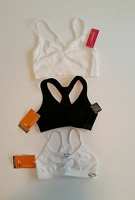 Lot of 3 New Girls size S Sports Bras Champion & Xhilaration NWT White & Black
