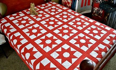 Antique Hand Stitched American Star Quilt *