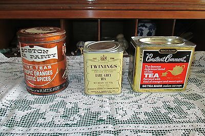 3 Vintage Tea Containers Boston Tea Party Twinings Constant Comment Family Items