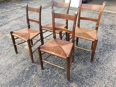 Antique Ladder Back Rush Chairs, Old Farmhouse, Prairie, Country Style