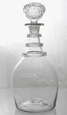 Fine Antique Blown Glass Three Rigaree Ring Decanter 19th Century
