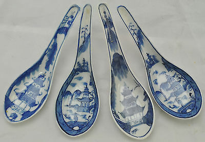 Set of 4 Antique Canton Blue & White Chinese Porcelain Soup Spoons 19th Century
