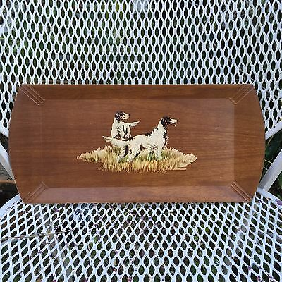 Vintage 1940s Wood lithographed paper tray English Setter pointing Dogs Tray